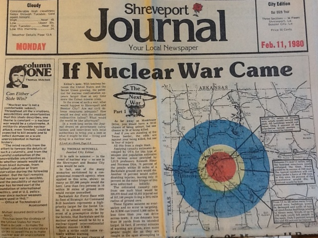 First in a series of articles on the impact of nuclear attack on a Louisiana Air Force Base.