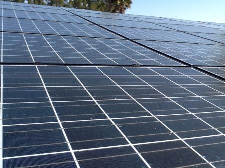 Backyard solar panels.