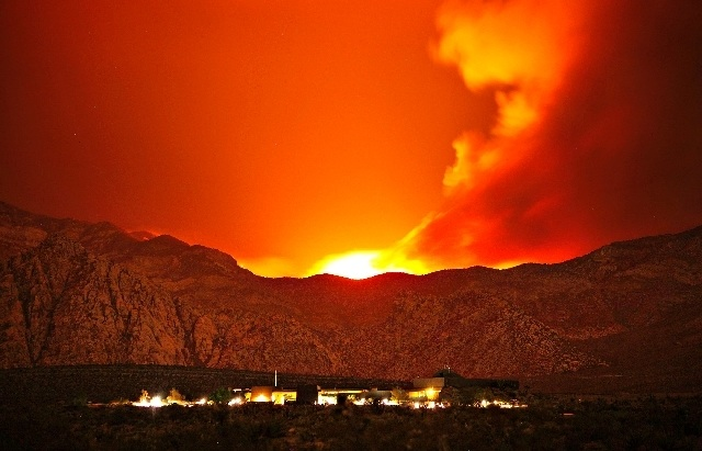 Fire behind Red Rock visitor center. (R-J photo