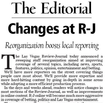 Editorial in today's R-J.