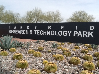 Entry to research park named for Harry Reid.