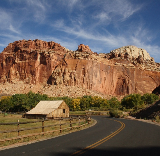 Capitol Reef National Park, in South Central Utah, preserves not only unspoiled nature but relics of those who settled the land. The authors find it a good destination for visitors with limited mobility. (Photo by Deborah Wall.)