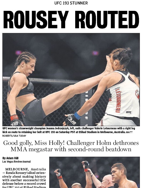 Front page of R-J sports page sans photo of Rousey bout.