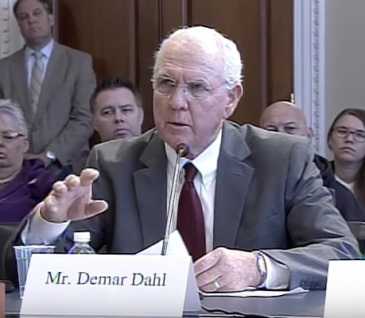 Demar Dahl testifies before House subcommittee.