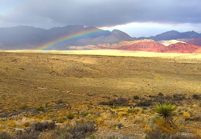 A rainbow formed in Red Rock Canyon as friends gathered to spread the ashes of a colleague.
